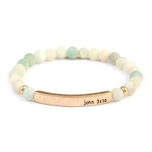 Jewelry - John 3:16 stretch gold bar bracelet - earth tones